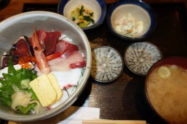 Sashimi, Rice, Miso and Pickles (Lunch at Asakusa)