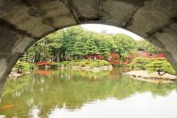 View through Koko-kyo Bridge of Valley of the Old Pines & Takuei Pond