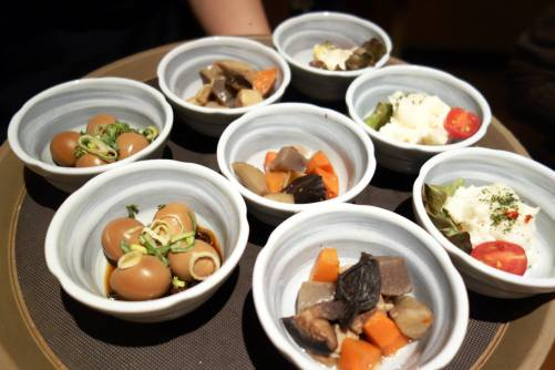 Soy sauce Quail eggs, Braised Vegetables & Potato Salad