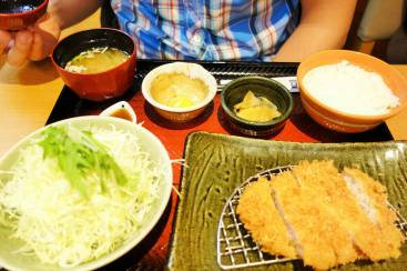 Tonkatsu chicken, Rice, Cabbage, Pickles, Miso soup