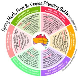 Spring Herb, Fruit & Vegies Planting Guide by temperate zones Au