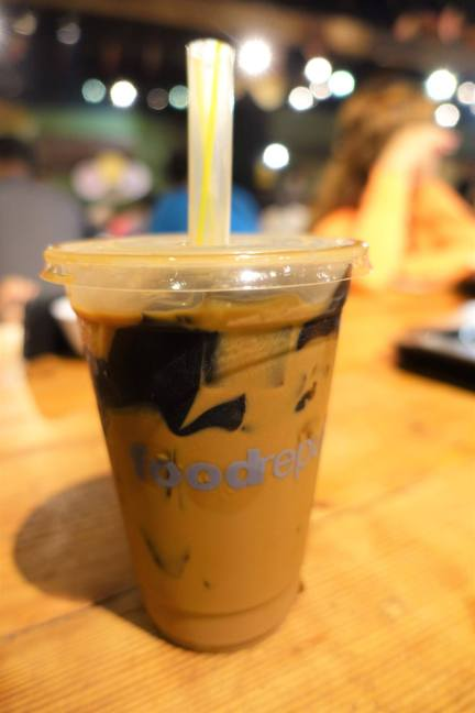 Coffee grass jelly milk tea