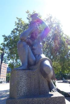 One of four sculptures by Emil Lie, Rådhused Fiord